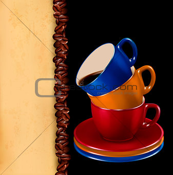 Background with colorful cups of coffee and old paper. Vector il