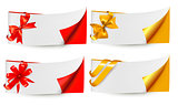 Holiday banners with gift bows and ribbons. Vector.