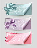 Set of beautiful Gift cards and banners with color gift ribbons