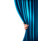 Background with blue velvet curtain and hand. Vector illustratio