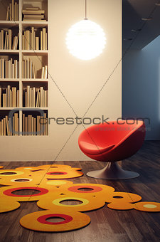 pop art style of lounge room