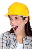 Female builder shouting