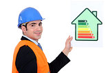 businessman holding an energy consumption label