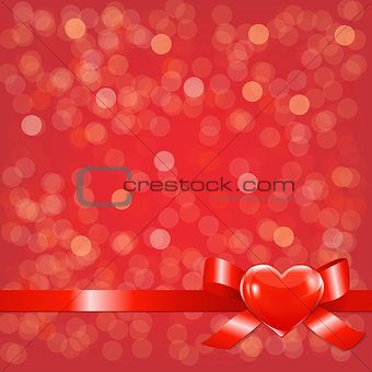 Red Bokeh Background With Bow