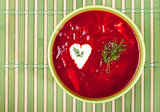 Borscht traditional Ukrainian food. Top shot