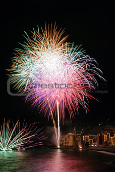Fireworks in the village Camogli, Italy