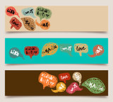 Valentine speech bubble banner set