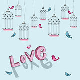 Valentine free bird love background