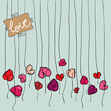 Valentine heart flowers background