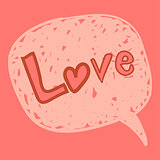 Love message in speech bubble