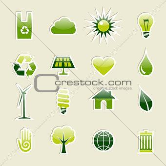 Green environment icons set