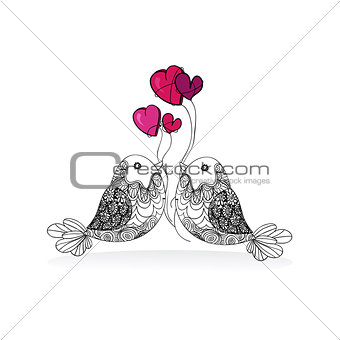 Valentine couple bird love isolated