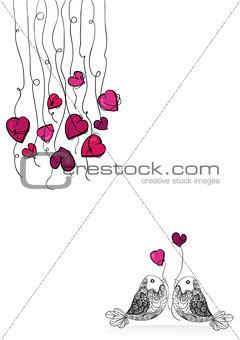Valentine bird love isolated
