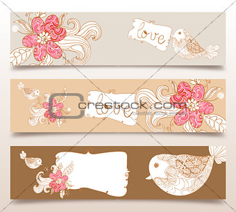 Valentine love birds and blossom banners