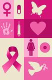 Breast cancer awareness elements set