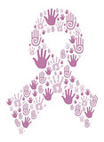 Hands in breast cancer awareness ribbon