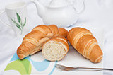 Croissants on a white plate