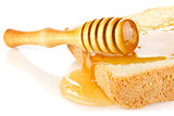 honey on bread slice with dipper