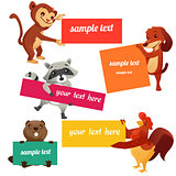 Set of labels with animals