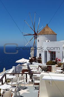 Windmill on Santorini island