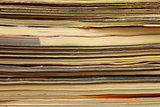 Magazines stack close-up