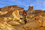 Mountain biker in a desert