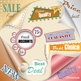 Retro and vintage paper sale elements eps10 vector illustration