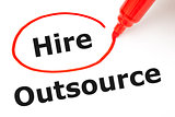 Hire or Outsource with Red Marker