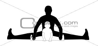 man and child sitting on the splits (silhouette)