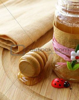 Natural organic flower honey in the pot