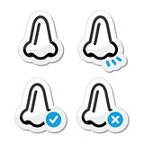 Nose smell vector black and blue icons set