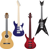 Vector set of guitars