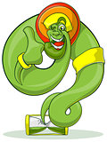Green Genie rastaman flying out hourglass. Jolly Genie shows thumb.