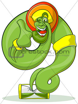 Green Genie rastaman flying out hourglass. Jolly Genie shows thumb.