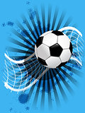 soccer ball and net on blue