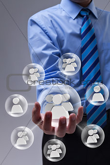 Businessman using social networking