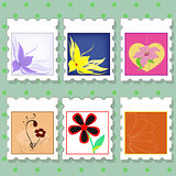 vector set of postage stamps with flowers