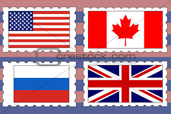 vector set of postage stamps with flags