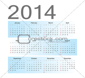 Simple blue european 2014 calendar