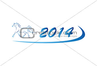 Vector illustration of horse icon 2014