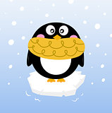 Cute winter penguin on sparkling iceberg