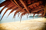 Asian thatch roof at the beach