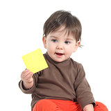 Baby showing a blank yellow note