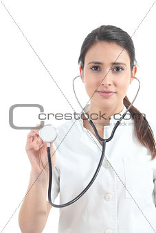 Beautiful nurse using a stethoscope