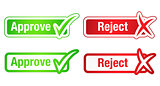 Approve and reject buttons