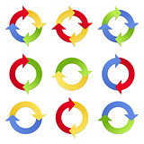 Arrows in circles in different positions and color versions