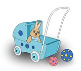 Rabbit in Doll Cart.