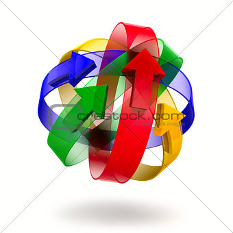 Abstract design of rings and arrows