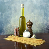 Mediterranean food:oil, garlic,chili noodles