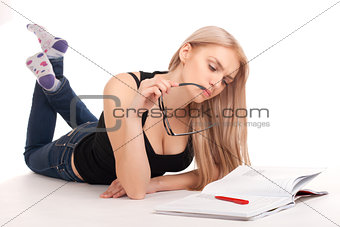 Student lying and studying